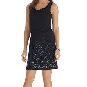 WHBM sz xs  black silver stud fitted dress